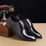 Male Glossy Trendy Soft Casual Dress Shoes - BLACK