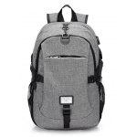 Men Casual Durable Canvas Backpack with USB Port - GRAY