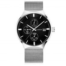 GUANQIN GS19082 Men Fine Steel Mesh Band Watch