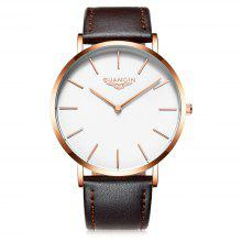GUANQIN GS19081 Men Retro Leather Band Quartz Watch
