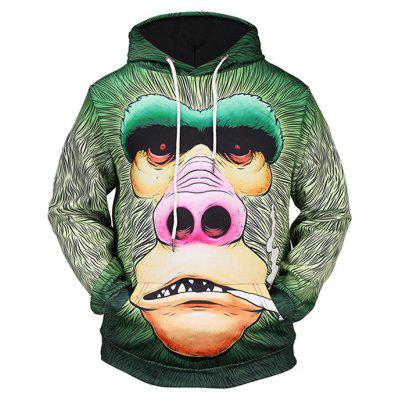 Male Loose Fit Gorilla Printing Hoodie Sweatshirt