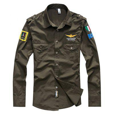 Buy ARMY GREEN M Chic Long Sleeves Casual Shirt for Men for $27.23 in GearBest store