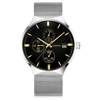 GUANQIN GS19082 Men Stainless Steel Mesh Band Watch