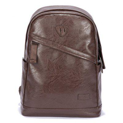 Buy BROWN Men Trendy Solid Color PU Backpack for $30.08 in GearBest store