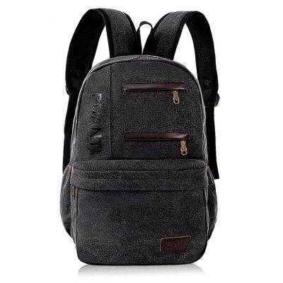 Buy BLACK Men Fashion Leather-trimmed Canvas Backpack for $19.39 in GearBest store