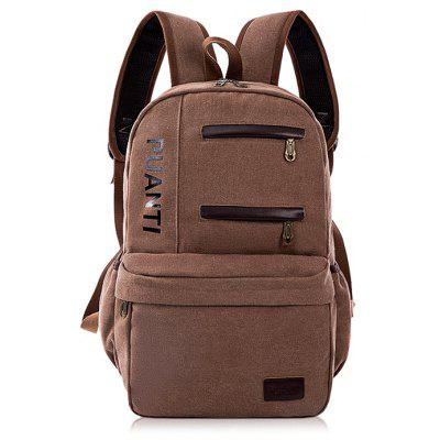 Buy BROWN Men Fashion Leather-trimmed Canvas Backpack for $19.39 in GearBest store