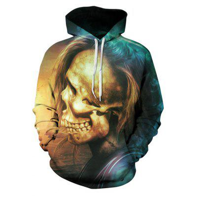 Male Casual Oversized Skull Printed Hoodie Sweatshirt