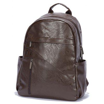 Buy BROWN Men Trendy Solid Color Textured PU Backpack for $29.11 in GearBest store