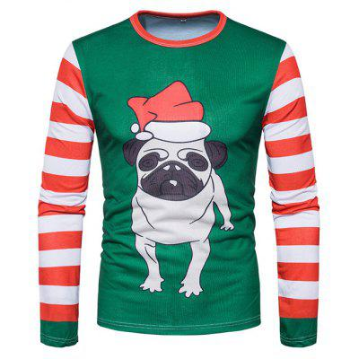 Men Christmas Style Cute Dog Printed Round Neck Long Sleeves Top