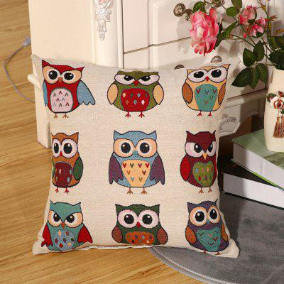 LAIMA BZ001 - 8 Flax Throw Pillow Case Nine Cartoon Owls Pattern Square Decorative Pillowcase Cushion Cover