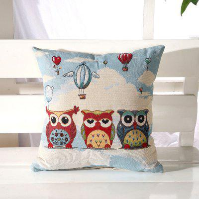 LAIMA BZ001 - 7 Flax Throw Pillow Case Three Cartoon Owls Pattern Square Decorative Pillowcase Cushion Cover