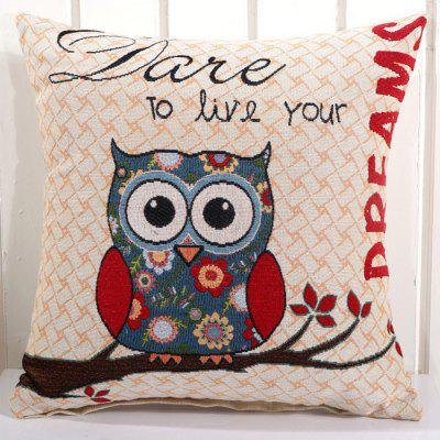 LAIMA BZ001 - 6 Flax Throw Pillow Case Lovely Owl Pattern Square Decorative Pillowcase Cushion Cover