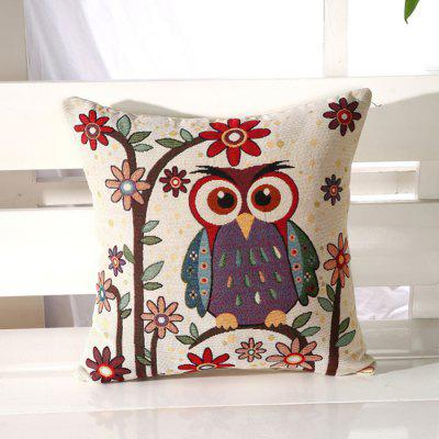 LAIMA BZ001 - 5 Flax Throw Pillow Case Cartoon Owl Pattern Square Decorative Pillowcase Cushion Cover