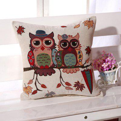 LAIMA BZ001 - 4 Flax Throw Pillow Case Owls Pattern Square Decorative Pillowcase Cushion Cover