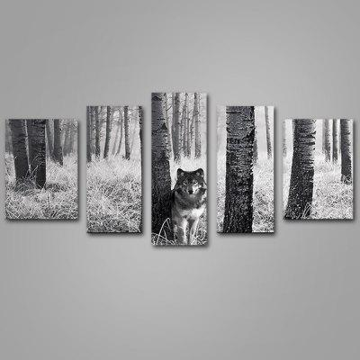 Buy COLORMIX JOY ART Wolf in Forest Print Framed Canvas Painting 5PCS for $52.10 in GearBest store