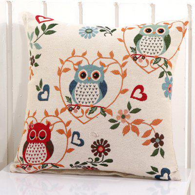 LAIMA BZ001 - 11 Flax Throw Pillow Case Cartoon Owl Pattern Square Decorative Pillowcase Cushion Cover