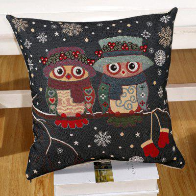 LAIMA BZ001 - 9 Flax Throw Pillow Case Cartoon Owl Lovers Pattern Square Decorative Pillowcase Cushion Cover