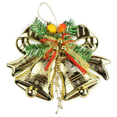 Buy GOLDEN Christmas Golden Flattened Bells Hanging Decoration for $5.48 in GearBest store