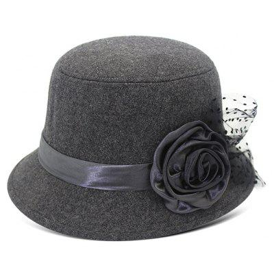 QingFang Vintage Bowler Hat With Rose Flower