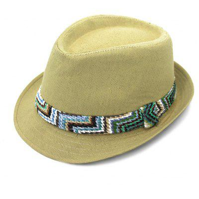 QingFang Vintage Chic Braid Embellished Belt Flat Top Linen Hat