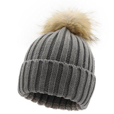 Women Winter Fur Ball Warm Crochet Knitted Cap