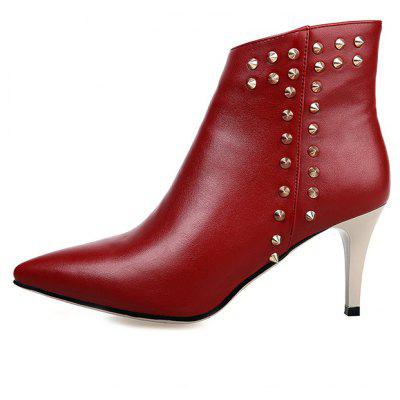 Female Trendy Rivet Design High Heel Pointed Toes Ankle BootsWomens Boots<br>Female Trendy Rivet Design High Heel Pointed Toes Ankle Boots<br><br>Closure Type: Zip<br>Contents: 1 x Pair of Shoes<br>Lining Material: Leather<br>Materials: Leather, Microfiber, Rubber<br>Occasion: Tea Party, Shopping, Rainy Day, Party, Outdoor Clothing, Office, Dress, Formal<br>Outsole Material: Rubber<br>Package Size ( L x W x H ): 30.50 x 18.00 x 10.00 cm / 12.01 x 7.09 x 3.94 inches<br>Package Weights: 1.2kg<br>Seasons: Autumn,Spring<br>Style: Modern, Comfortable<br>Toe Shape: Pointed Toe<br>Type: Boots<br>Upper Material: Microfiber