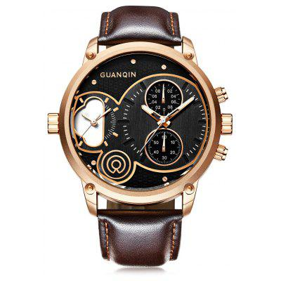 Buy ROSE GOLD GUANQIN GS19087 Men Leather Band Quartz Watch for $38.99 in GearBest store