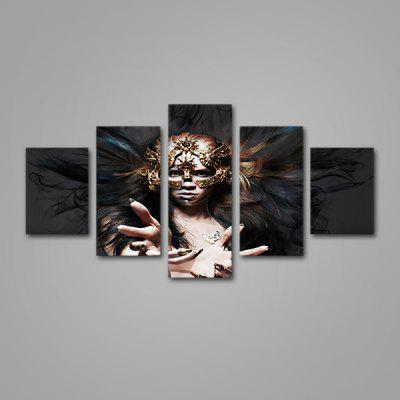 Modern Lady with Mask  Print Unframed Decorative Canvas Wall Art Painting 5PCS