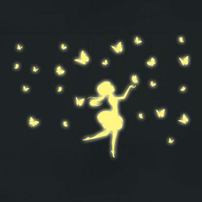 LAIMA Fluorescence Butterfly Girl Luminous Wall Sticker