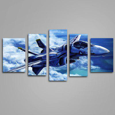 JOY ART Flying Plane Print Modern Framed Canvas Painting 5PCS