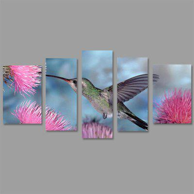 JOY ART Stretced Canvas Prints Bird Pink Flowers Painting