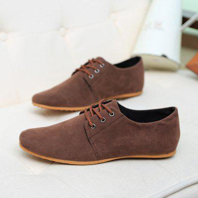 Buy BROWN 44 Male Simple Solid Color Flat Lace Doug Casual Shoes for $14.39 in GearBest store