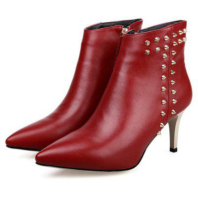 Feminino Trendy Rivet Design High Heel Pointed Toes Ankle Boots