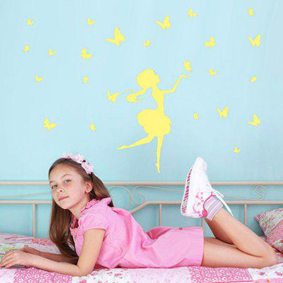 Buy LAIMA Fluorescence Butterfly Girl Luminous Wall Sticker, YELLOW, Home & Garden, Home Decors, Wall Art, Wall Stickers for $3.97 in GearBest store