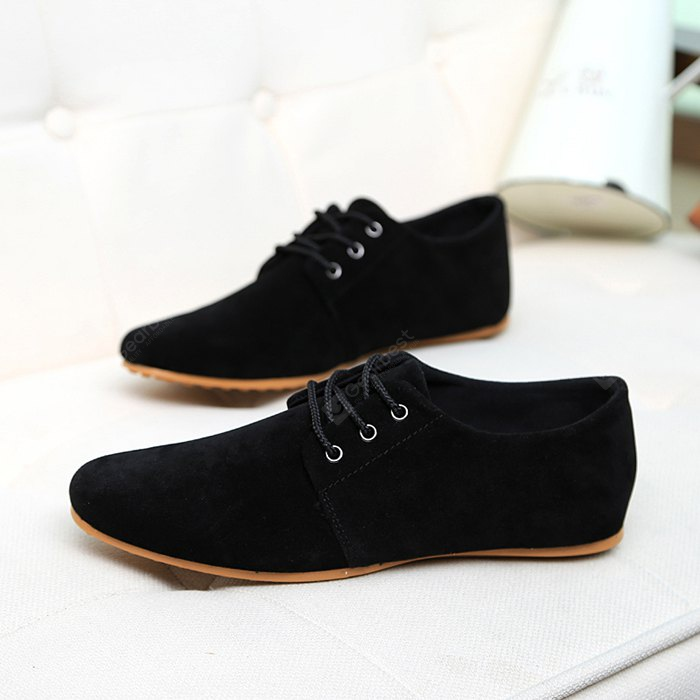 Male Simple Solid Color Flat Lace Doug Casual Shoes