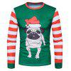 Hommes Cute Dog Printed Round Neck manches longues Top - VERT