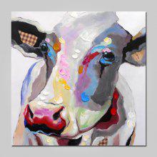 NO1 Stretched Oil Painting Colorful Cow on Canvas