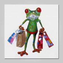 NO1 Stretched Oil Painting Cute Frog with Shopping Bags
