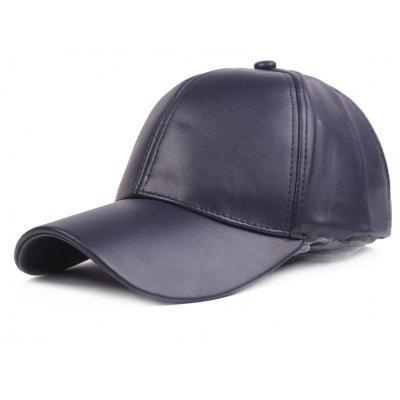 Unisex Solid Color PU Material Baseball Hat