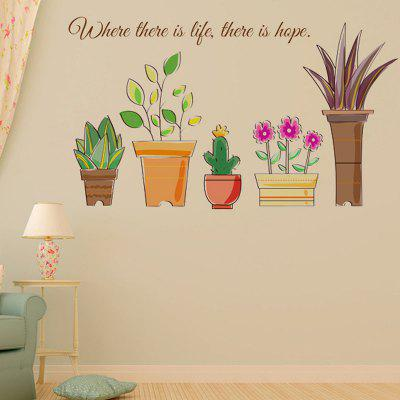 LAIMA Creative Potted Plants Pattern Wall Sticker