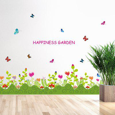 LAIMA Cartoon Flowers Pattern Wall Sticker