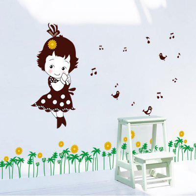 Buy LAIMA Cartoon Pastoral Girl Pattern Wall Sticker, COLORFUL, Home & Garden, Home Decors, Wall Art, Wall Stickers for $7.08 in GearBest store