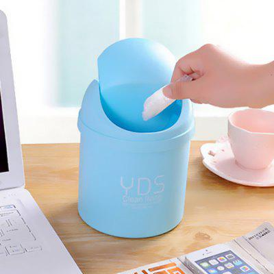 Buy BLUE Mini Desktop Trash Can Small Storage Box with Swing Lid 1PC for $1.08 in GearBest store