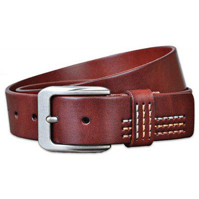 Male Retro Cowhide Soft Leather Belt With Pin Buckle