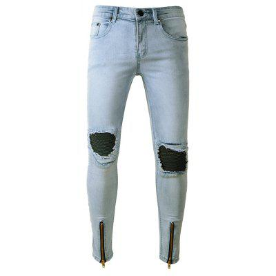 Male Fashion Ripped Biker Jeans