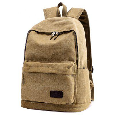 Buy KHAKI Men Vintage Solid Color Canvas Backpack for $20.79 in GearBest store