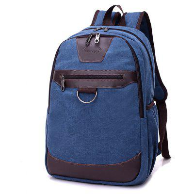 Buy BLUE Men Vintage Leather-trimmed Canvas Backpack for $20.93 in GearBest store