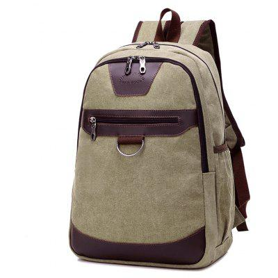 Buy GREEN Men Vintage Leather-trimmed Canvas Backpack for $20.93 in GearBest store