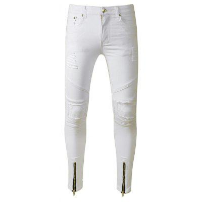Male Stylish White Slim Fit Jeans
