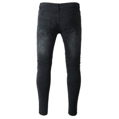 Slim Fit Biker Jeans with Distressed DetailsMens Pants<br>Slim Fit Biker Jeans with Distressed Details<br><br>Material: Cotton, Spandex<br>Package Contents: 1 x Pants<br>Package size: 40.00 x 30.00 x 1.00 cm / 15.75 x 11.81 x 0.39 inches<br>Package weight: 0.4700 kg<br>Product weight: 0.4500 kg